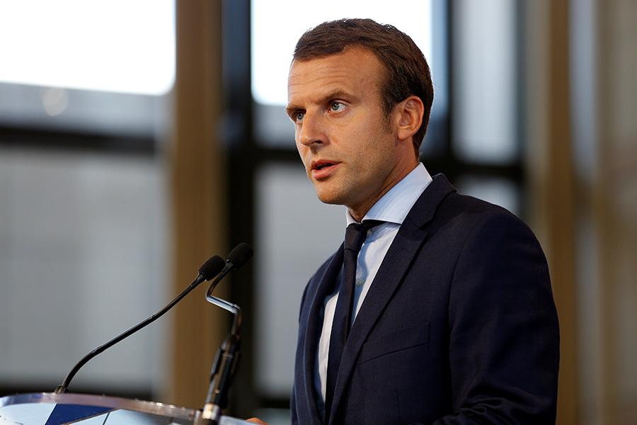 法國前經濟部長馬克宏8月30日宣佈辭職,或將參加明年法國總統競選。(THOMAS SAMSON/AFP/Getty Images)