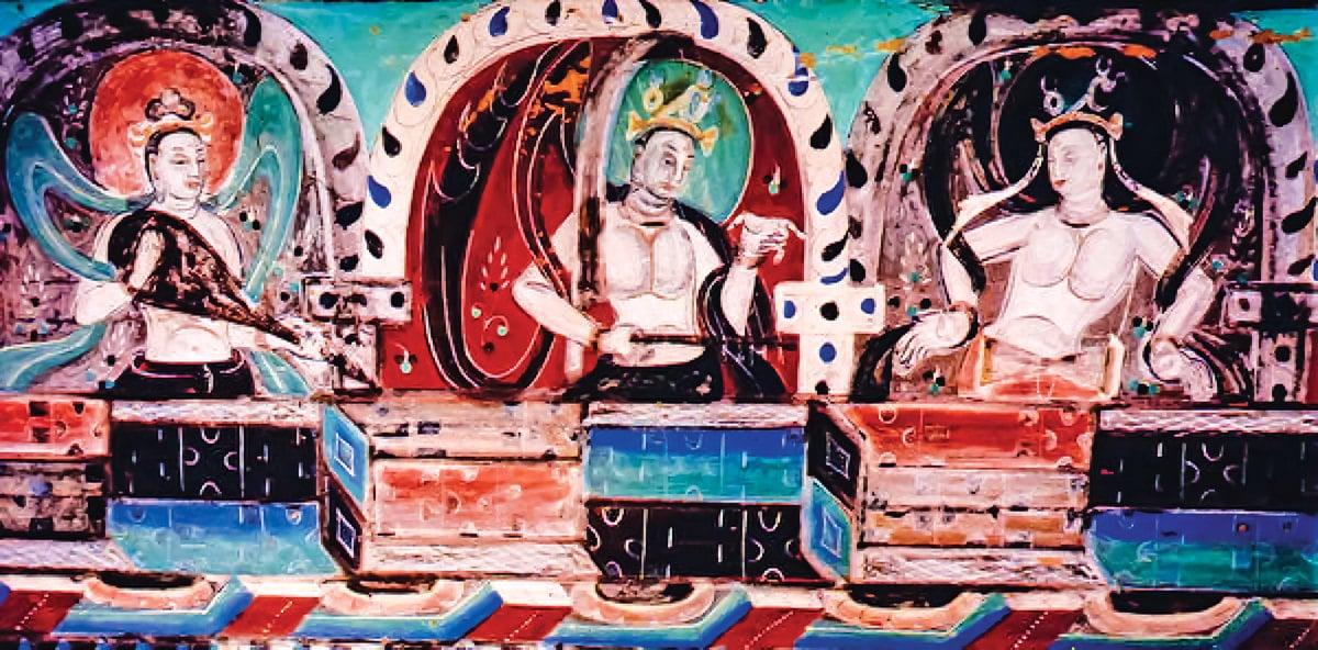 圖為敦煌莫高窟的西魏第288窟的天宮伎樂壁畫(局部)。(公有領域)