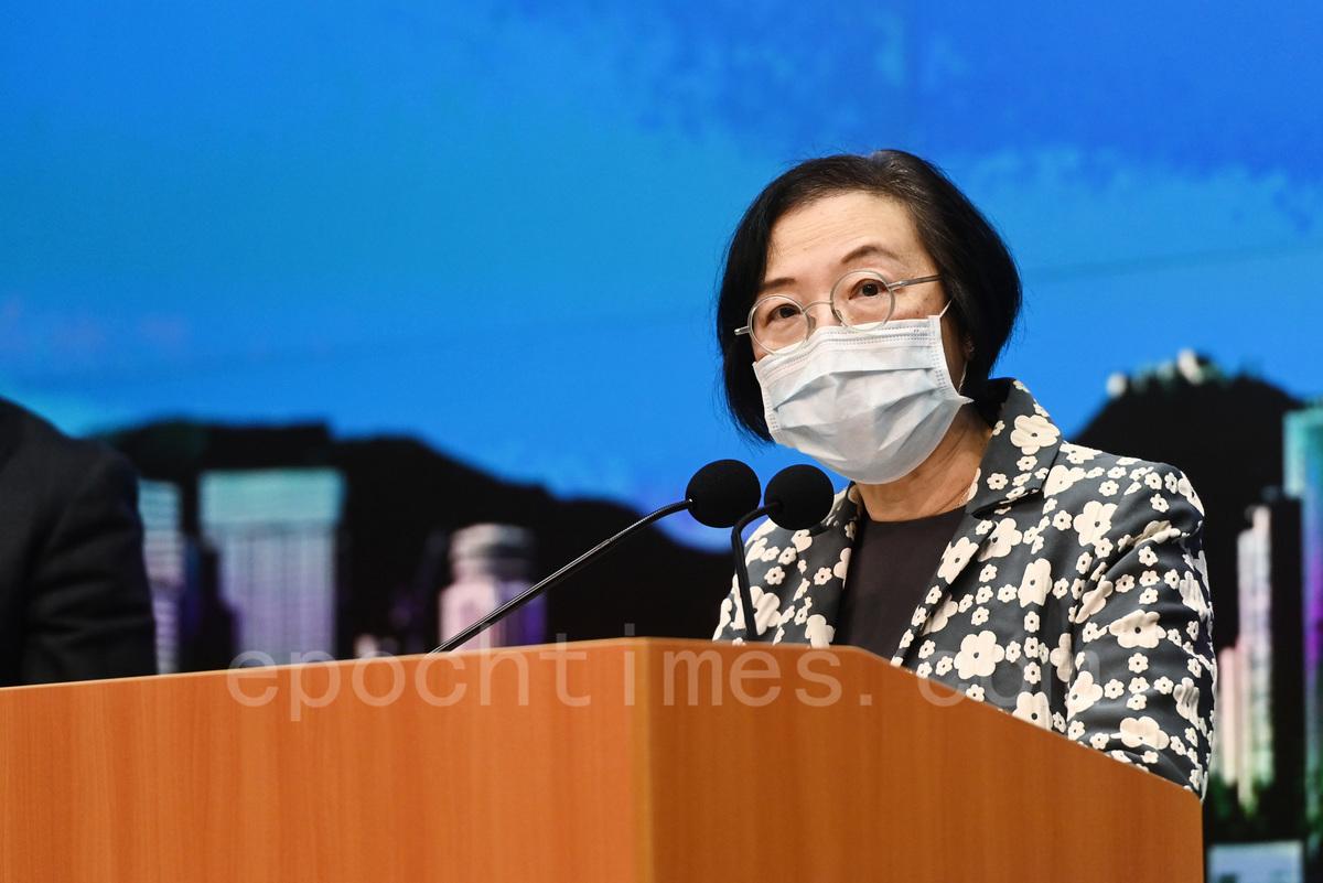 食物及衞生局局長陳肇始3月29日表示,目前本港仍未有大規模放寛限聚令的條件。(余鋼/大紀元)