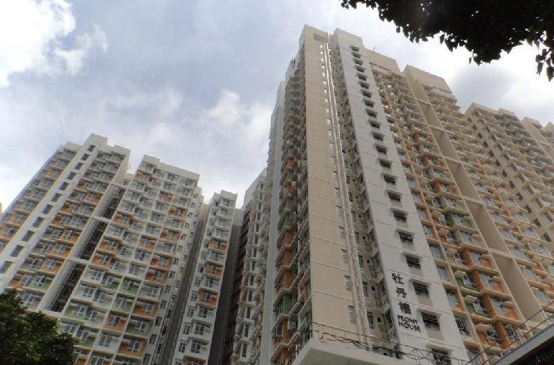 深水埗蘇屋邨重建計劃第一期落成的六座住宅大廈之一牡丹樓。(政府新聞公報)
