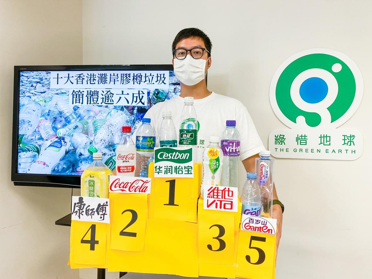 環保團體綠惜地球在2019年至2020年期間發起40場淨灘活動,收集到過萬個膠樽,可識別品牌的膠樽中發現有六成為簡體字品牌。(綠惜地球提供)