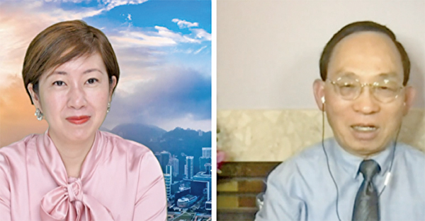 記者梁珍(左)採訪來自香港的加拿大資深媒體人何良懋(右),請他談一談中共的邪惡基因之七「間」。(大紀元合成圖)