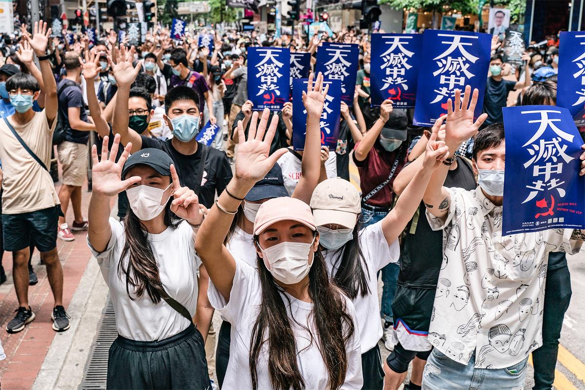 2020年5月24日,香港民眾遊行反對中共強推「港版國安法」。(ANTHONY WALLACE/AFP)