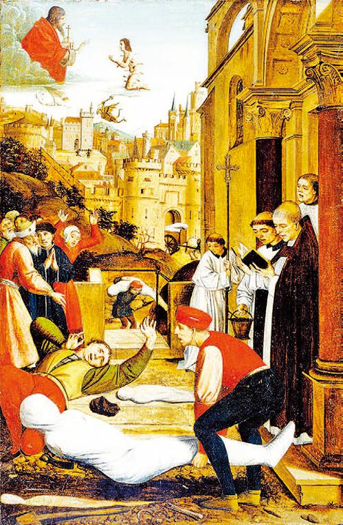 [尼德蘭] 若斯•列菲林西(Josse Lieferinxe),《聖塞巴斯蒂安代瘟疫災區向神祈禱》(Saint Sebastian Interceding for the Plague Stricken),1497 年作, 美國巴爾的摩市沃爾特斯藝術博物館藏。( 維基百科)