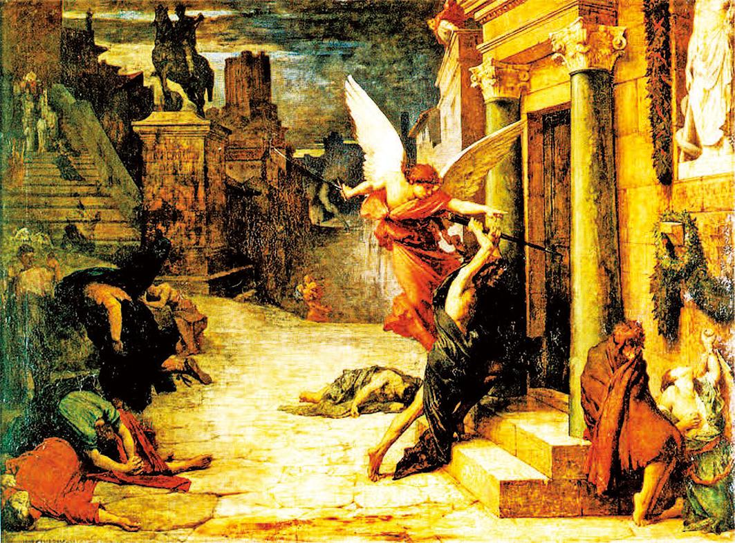 法國居勒德洛內(Jules Elie Delaunay,1828 ~ 1891),《被瘟疫侵襲的羅馬城》(Peste  à  Rome),1869 年作,巴黎奧塞美術館藏。( 藝術復興中心提供)