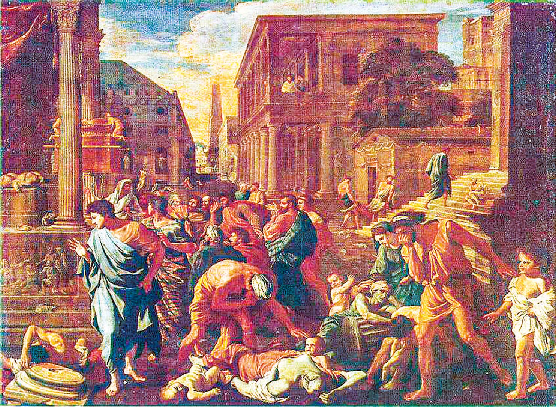 法國畫家居勒-埃里•德洛內(Jules Elie Delaunay,1828 ~ 1891),《被瘟疫侵襲的羅馬城》(Peste  à  Rome), 1869 年作,巴黎奧塞美術館藏。( 公有領域)