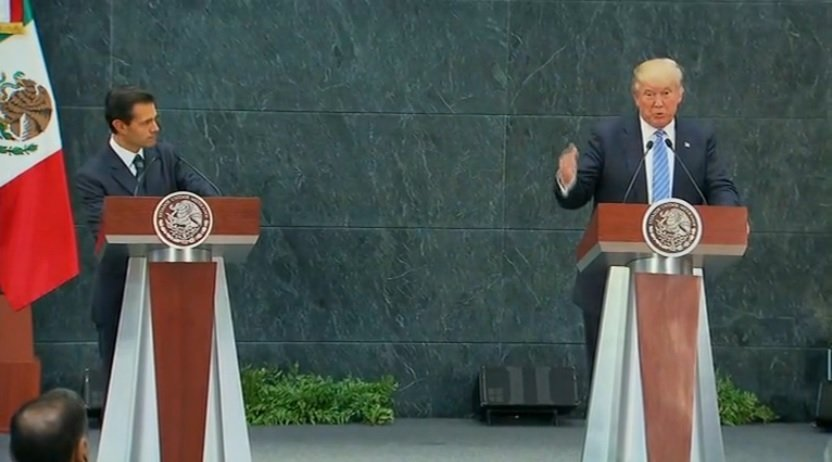 圖為特朗普去年競選總統期間與墨西哥總統涅托會面。(視像擷圖)