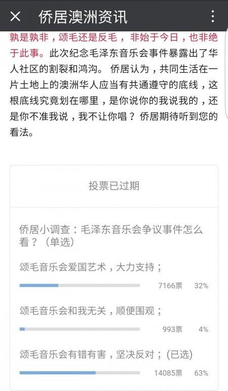 微信平台《僑居澳洲》的民意調查顯示有63%民眾投反對票。(微信擷圖)
