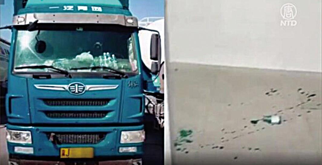 金德強生前駕駛的卡車(左)和金德強喝下的農藥的瓶子(右)。(影片截圖)