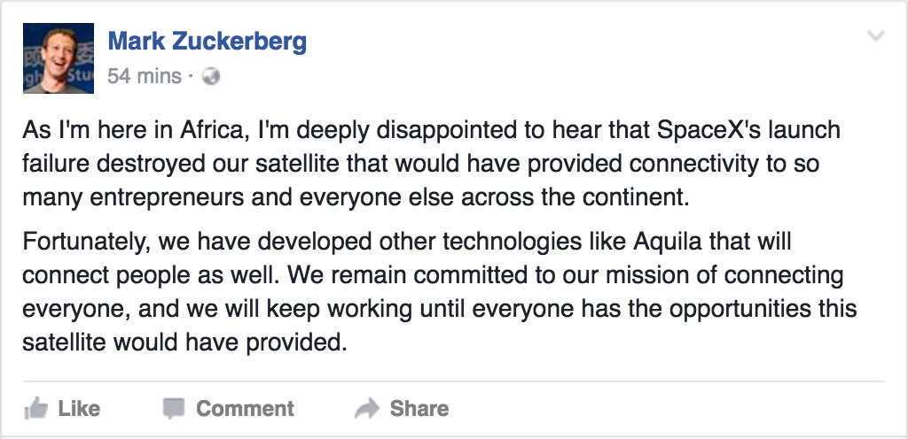 正在非洲訪問的Facebook創辦人兼行政總裁朱克伯格(Mark Zuckerberg)在得知消息後,在其Facebook個人帳號上表示對火箭失事事件「非常失望」(deeply disappointed)。(Facebook擷圖)