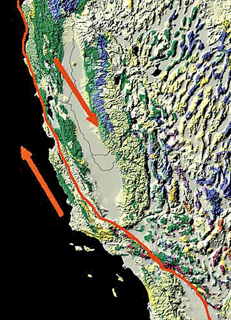 專家認為,倘若聖安德烈亞斯斷層釋放能量而發生地震,洛杉磯或難以倖免,圖為斷層移動方向。(維基百科)