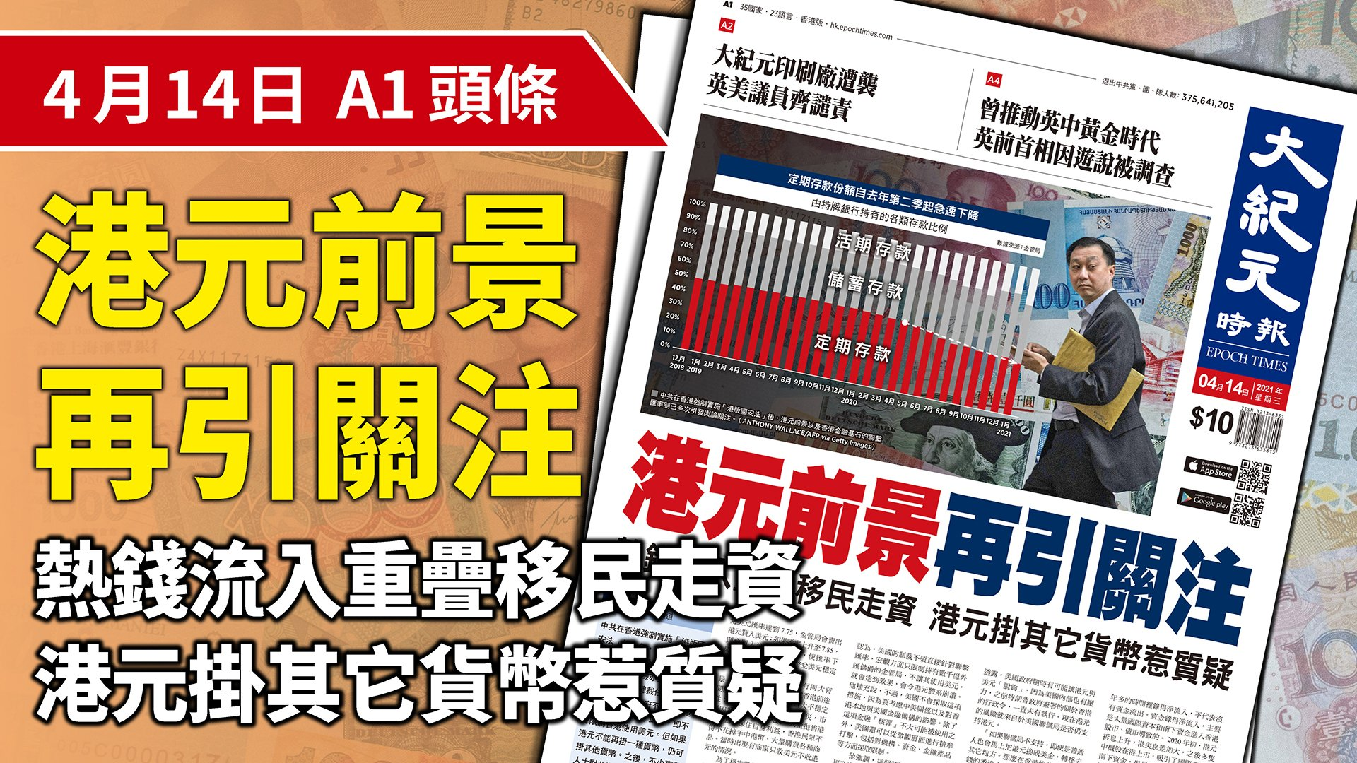 中共在香港強制實施「港版國安法」後,港元前景以及香港金融基石的聯繫匯率制已多次引發輿論關注。(大紀元製圖)