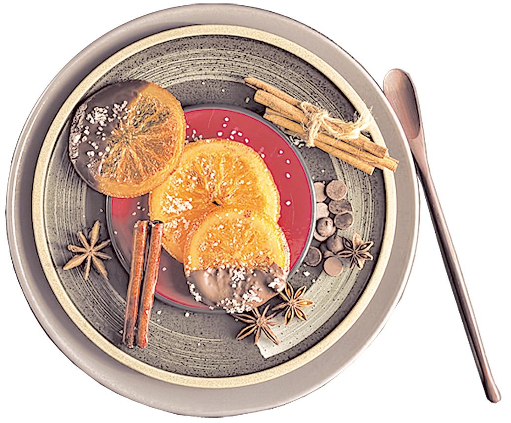蜜餞柑橘片可做糕點配飾,或撒上肉桂等香料粉當茶點。