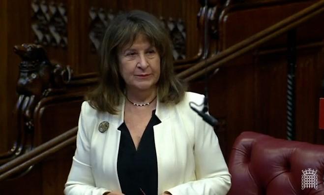 圖為海倫娜·甘迺迪男爵夫人3月23日在英國上議院發言。(議會影片截圖)