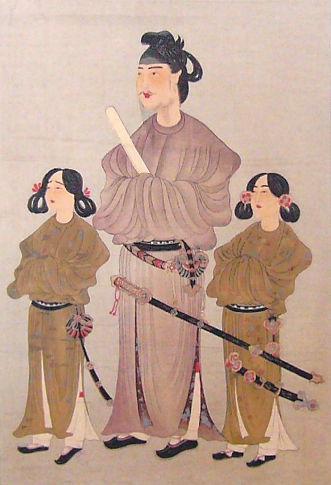 「唐本御影」,聖德太子(中)及其王弟殖栗王子(左)和長子山背大兄王(右)的肖像畫。雕版印刷畫,公元八世紀(公共領域)