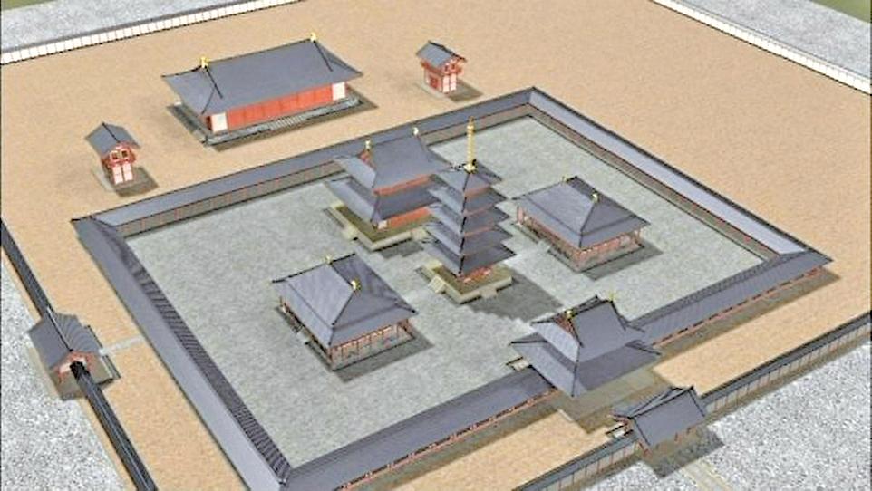 飛鳥寺復元圖(公共領域)