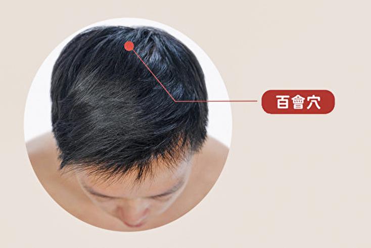 百會穴位於兩耳尖直上,頭頂正中央,向後約1拇指橫寬處。(健康1+1/大紀元)