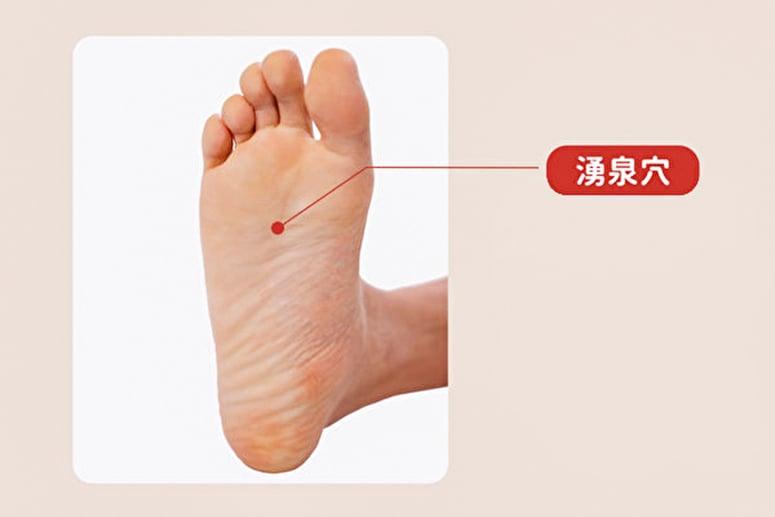 湧泉穴位於第二、三趾縫紋頭端和腳跟後端連線的前1/3點。(健康1+1/大紀元)