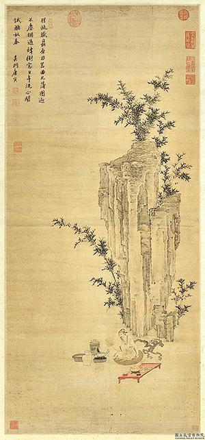 明代唐寅《煎茶圖》,展現明代蘇吳名茶區的飲茶習慣和高士試茶之幽趣(台北故宮博物院提供)