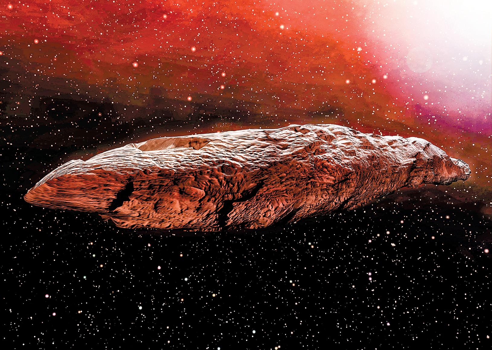 神秘天體奧陌陌(Oumuamua)概念圖。(Shutter Stock)
