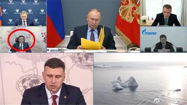 阿里巴巴集團馬雲(紅圈處)4月14日罕見地出現在俄羅斯總統普京主持的視像會議上;然而,在近兩個小時的會議期間,馬雲全程沒有發言。(網絡圖片)