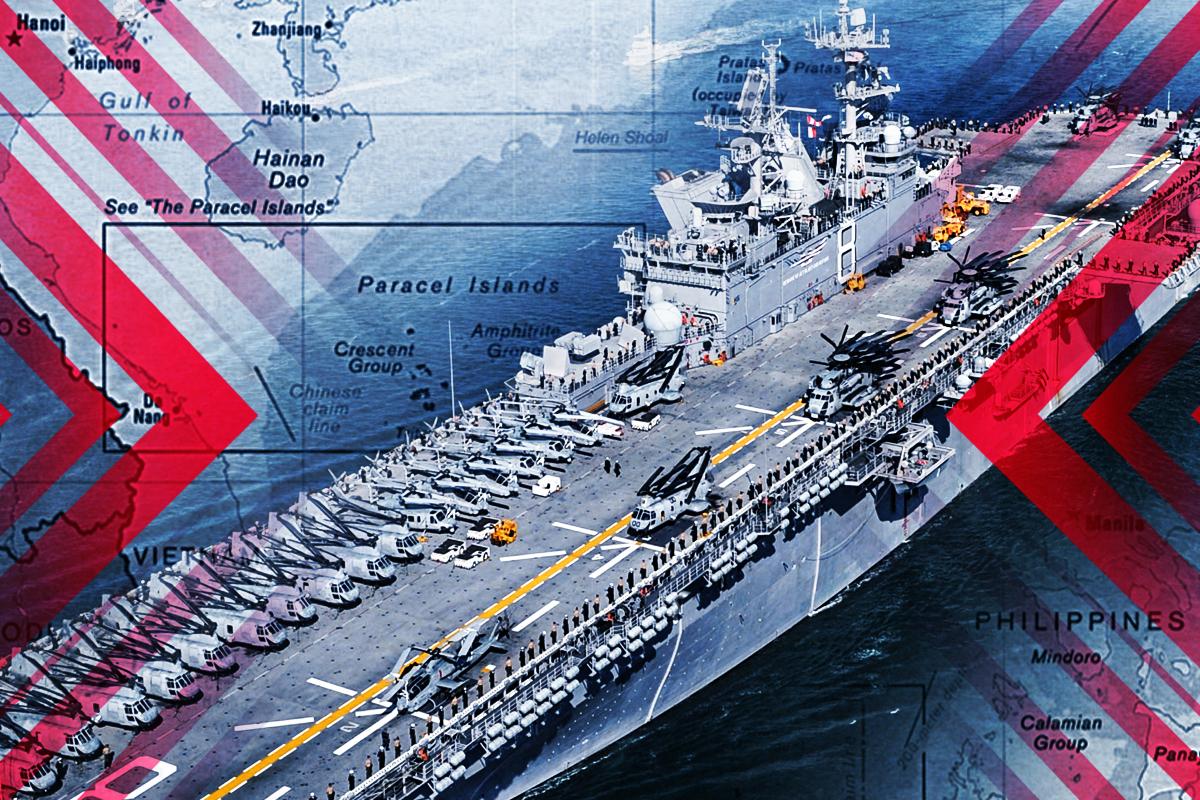 最近中共在台海和南海鬧得很歡,美國海軍的兩棲攻擊戰鬥群也許要陪中共玩到最後。(大紀元製圖)