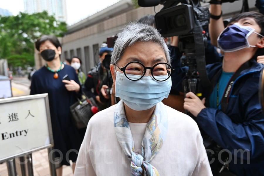 8.18集會今日(4月16日)將判刑,包括民主黨創黨主席李柱銘等10位知名香港民主人士出庭。其中吳靄儀被判囚12個月,緩刑2年。(宋碧龍/大紀元)