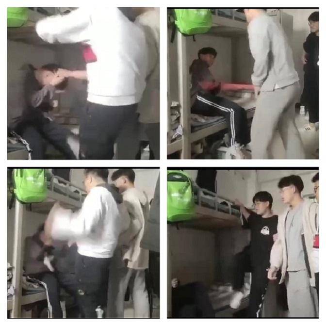 4月16日,河南省濮陽市第一高級中學發生一起校園淩霸事件,一個瘦弱男孩被多人圍困,被多次扇耳光、腳踹,甚至還打斷一根拇指粗細的棍子。(視像截圖)