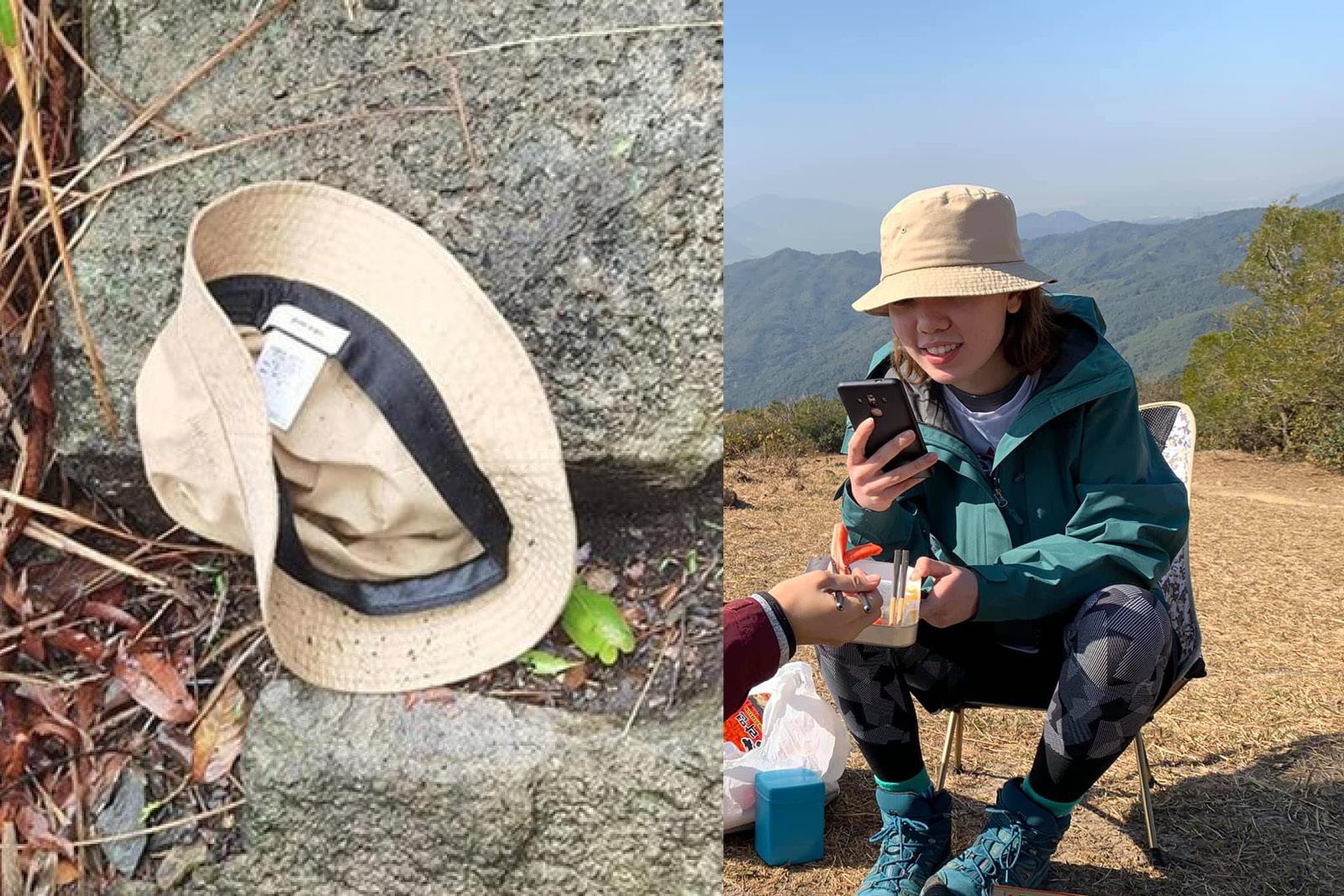 今日凌晨2時許,有義務搜索隊在發現漁夫帽的位置附近找到一隻藍色行山鞋,相信屬於石樂蕎。(網絡圖片合成)