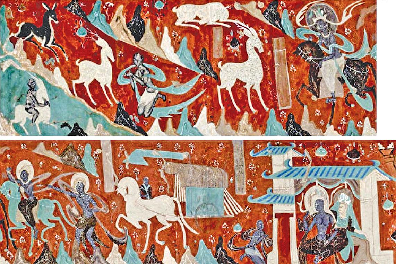 上、下兩圖為敦煌莫高窟的北魏第257窟《鹿王本生》壁畫左段和右段。(公有領域)