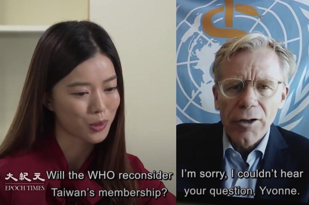 在新任處長李百全上台後,港台英文時事節目《The Pulse》記者唐若韞疑不堪壓力,已經辭職。她曾在去年4月訪問世界衛生組織助理總幹事艾爾沃德(Bruce Aylward)時提問,「是否會重新考慮台灣的會員資格」。(大紀元製圖)