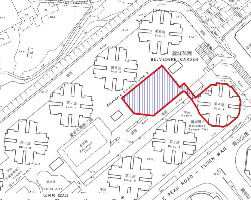 政府指定荃灣麗城花園的「受限區域」。(政府新聞網截圖)