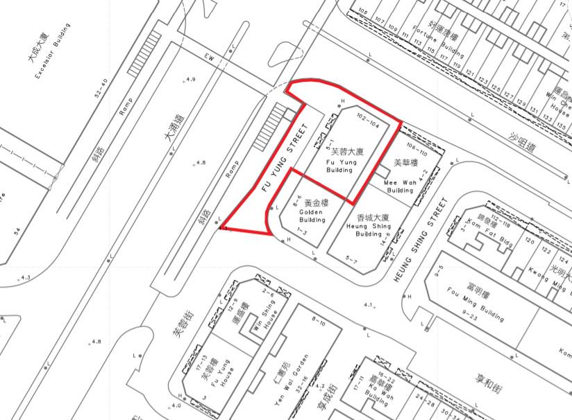 政府指定荃灣芙蓉大廈的「受限區域」。(政府新聞網截圖)