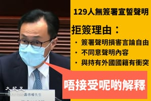 129人無簽署宣誓聲明 聶德權:不接受他們的解釋