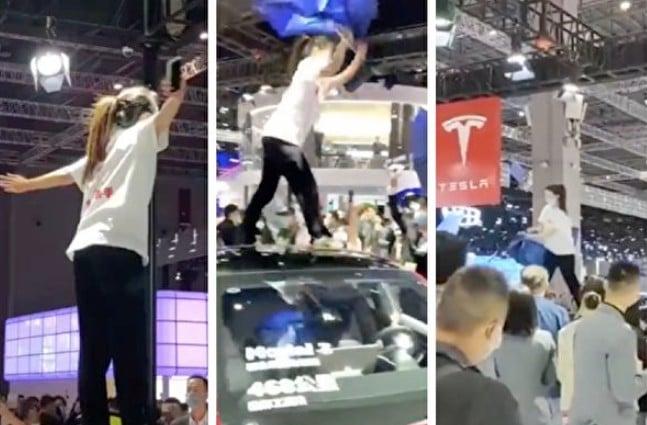 4月19日,上海國際汽車展,現場至少有兩名穿著寫著「剎車失靈」字樣T恤的女子「維權」砸場,其中一女子站在車頂上高呼並撕碎廣告傘,情緒激動。(影片截圖合成)