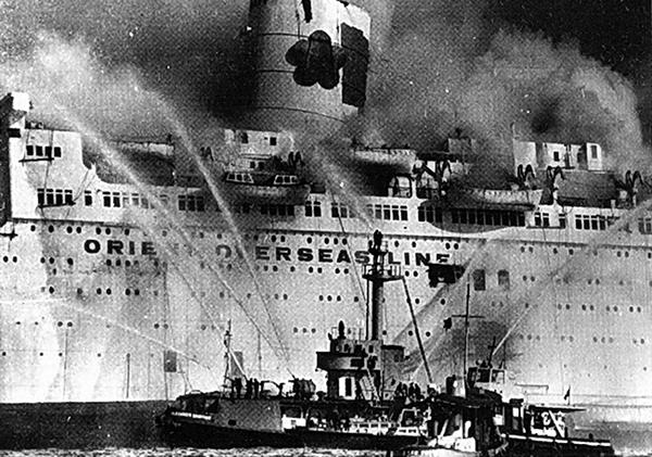船王董浩雲創辦的「海上學府」郵輪,疑遭中共派人燒毀。(網絡圖片)