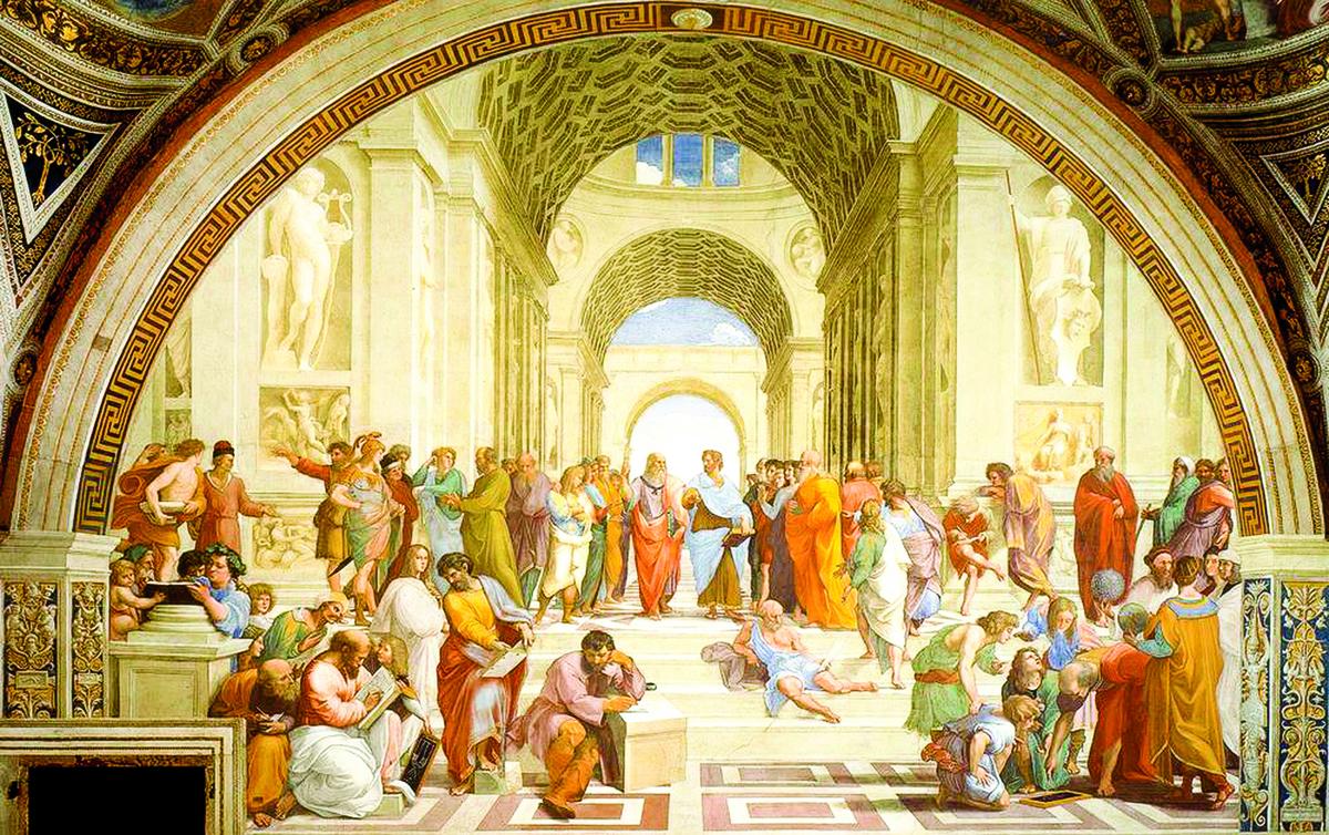 拉斐爾(Raphael)在梵蒂岡所繪製的《雅典學院》(The School of Athens)1509年~1510年,濕壁畫,底寬770公分。梵蒂岡宮簽署大廳(Stanza della Segnatura),羅馬,意大利。(公有領域)