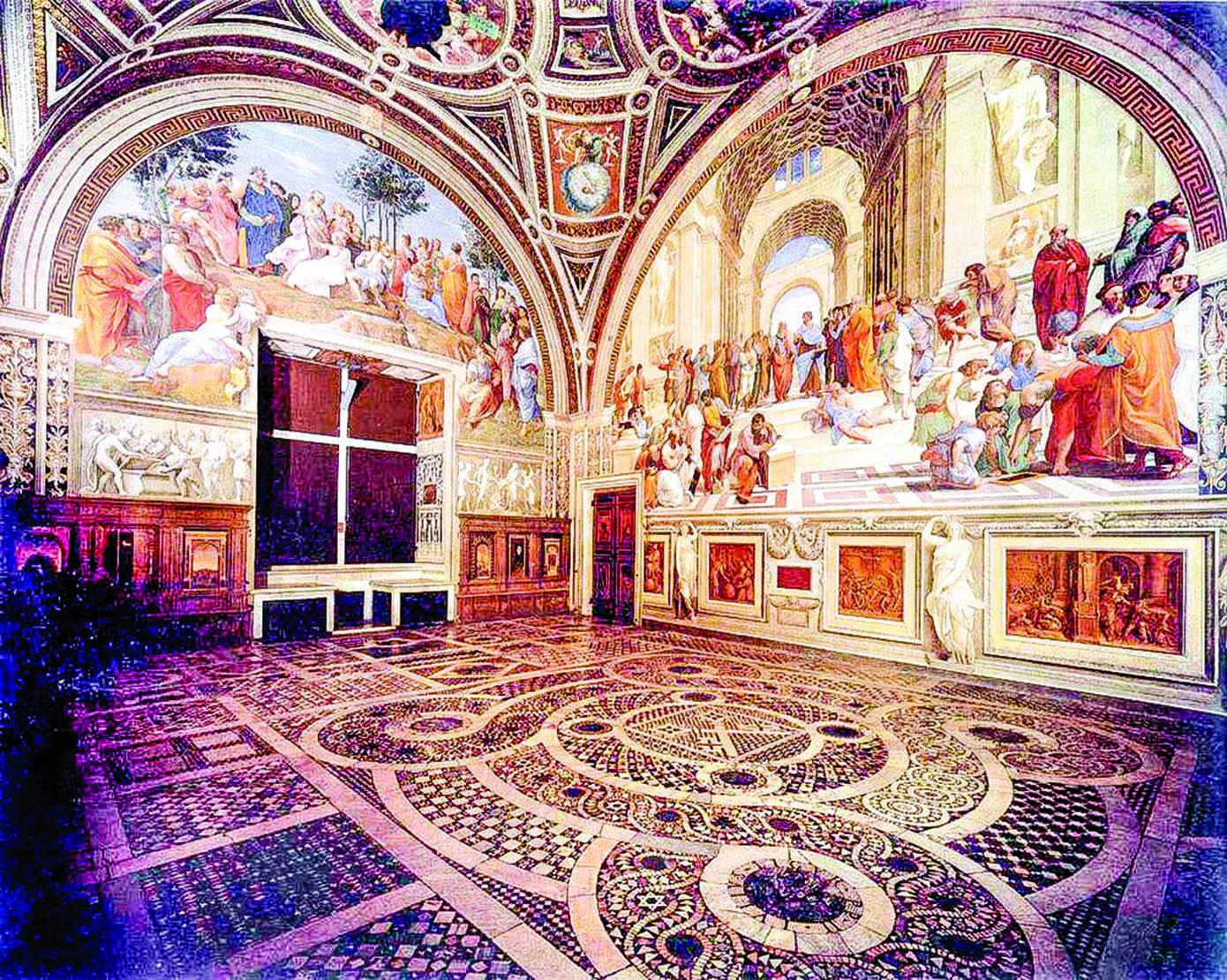 梵蒂岡宮簽署大廳一隅,羅馬,意大利。(公有領域)