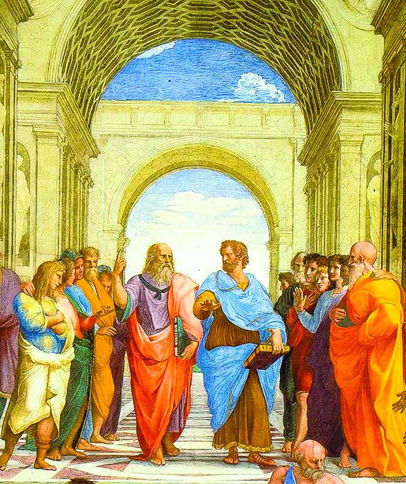 《雅典學院》局部,壁畫中心人物:柏拉圖和亞里士多德。(公有領域)