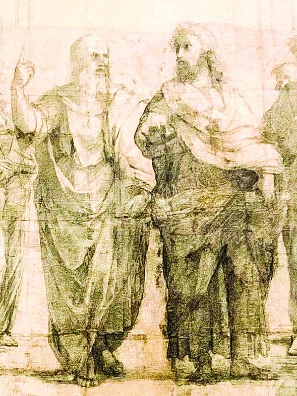 素描稿中的柏拉圖和亞里士多德。(周怡秀提供)