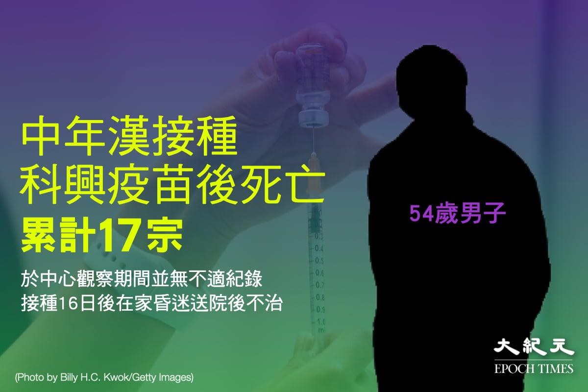 本港的中共病毒疫苗接種計劃2月28日開始至今,短短1個多月內已至少有17人在接種疫苗後逝世,當中15人接種科興疫苗。(大紀元製圖)
