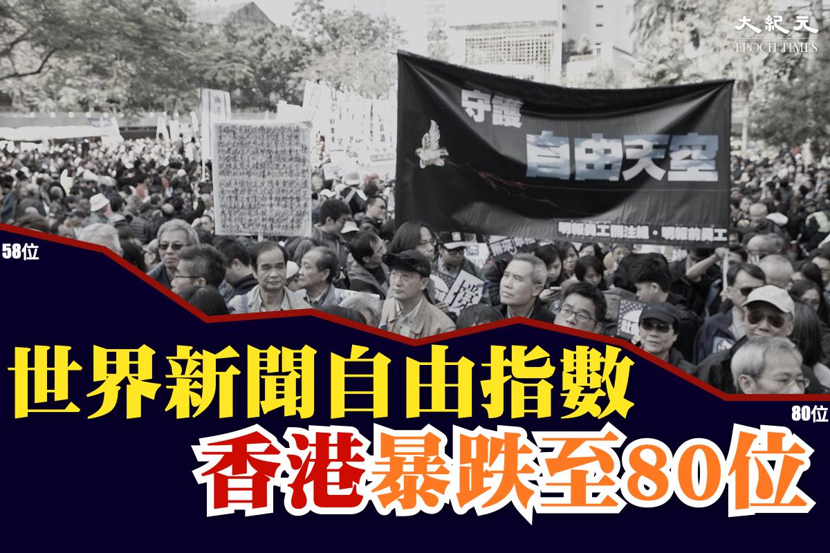 無國界記者組織(RSF)公佈2021年度全球新聞自由指數,香港在全球180個地區及國家中排名80位,中國則倒數第4。(大紀元製圖)