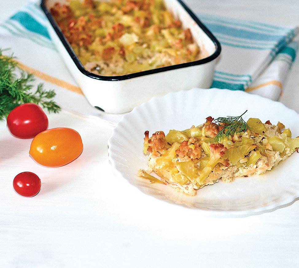 配合低碳飲食的需求,雞肉燉菜裏的炸薯球可用花椰菜代替。