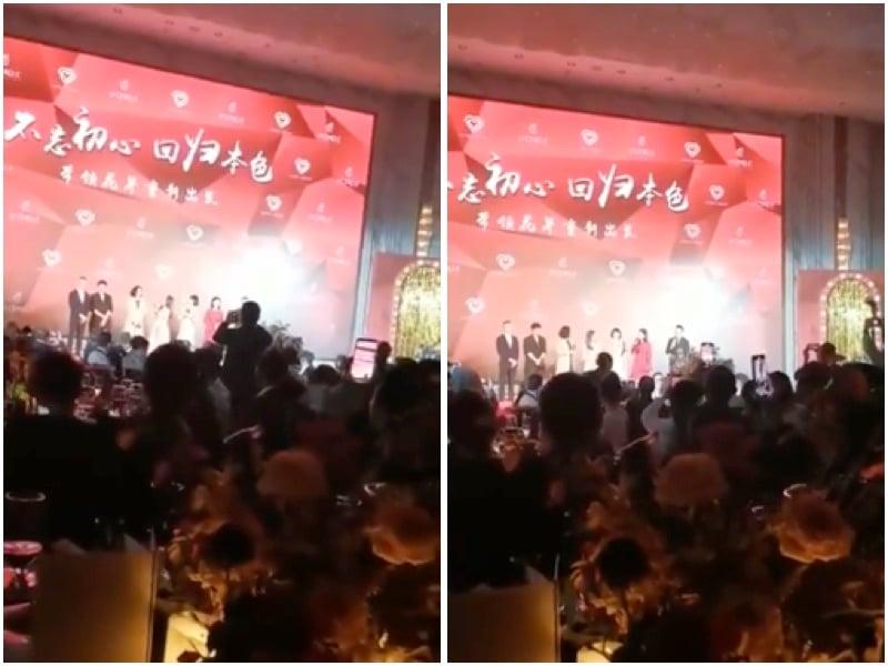 日前,原上海灘首富周正毅的生日宴會,上海東方衛視主持人悉數參加並登台,引起官方震驚,網傳涉及的主持人遭查。圖為生日會現場。(影片截圖)
