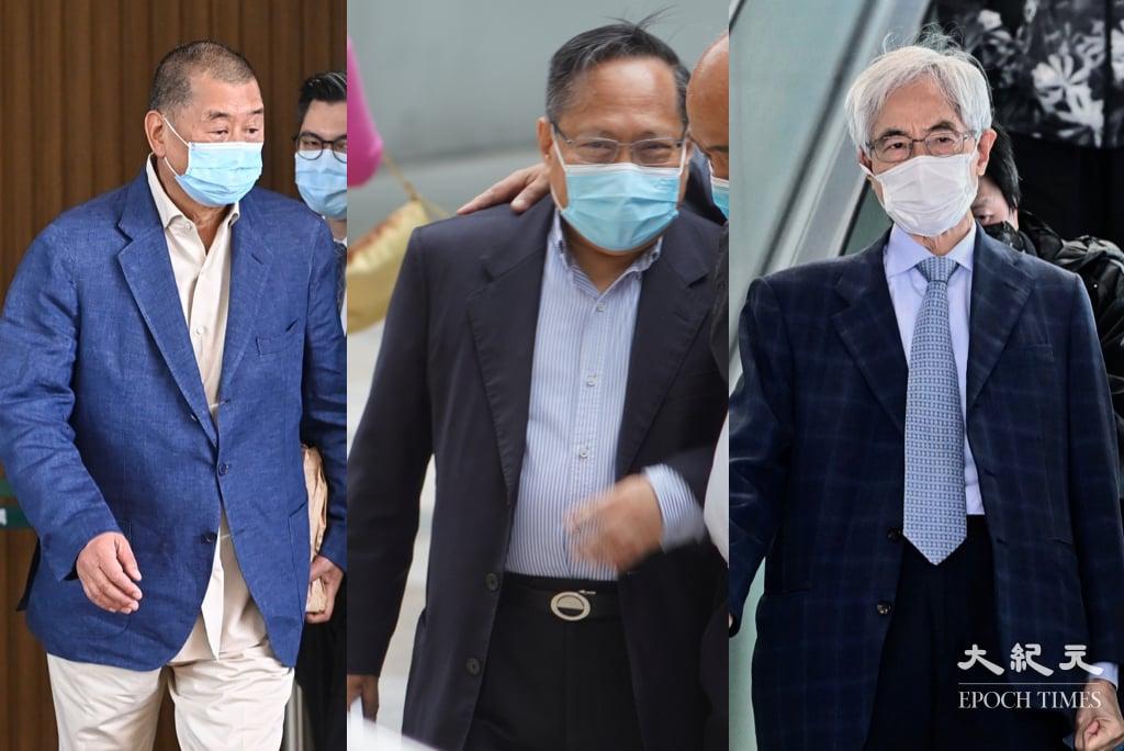 壹傳媒集團創辦人黎智英(左)、民主黨前主席何俊仁(中),及香港民主黨創黨成員李柱銘(右)今(21日)就8.18案裁決提出上訴,而黎智英另就8.18案及8.31案提出減刑申請。(大紀元製圖)