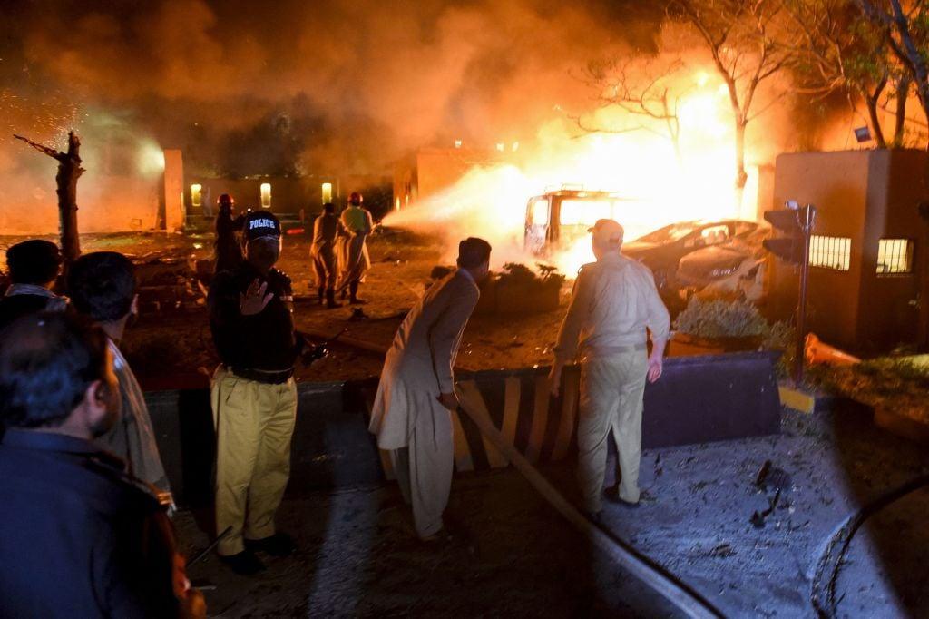 巴基斯坦南部俾路支省(Balochistan)首府奎達(Quetta)一間豪華酒店21日晚發生爆炸。 (BANARAS KHAN/AFP via Getty Images)