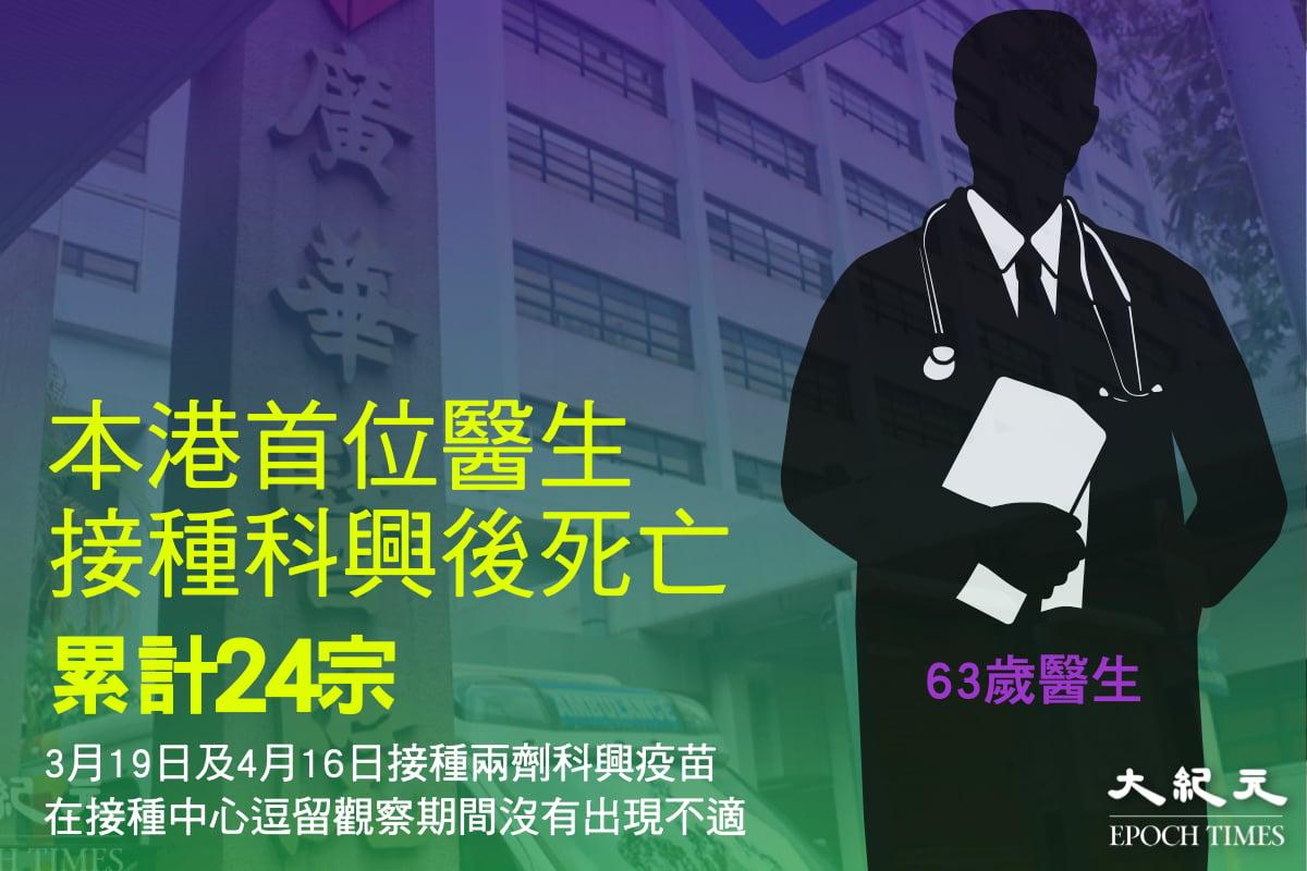 一名63歲廣華醫院醫生患高血壓,打第2劑科興疫苗10日後突抽搐暈倒搶救無效逝世,是全港首宗有醫生打針後死亡個案。(大紀元製圖)