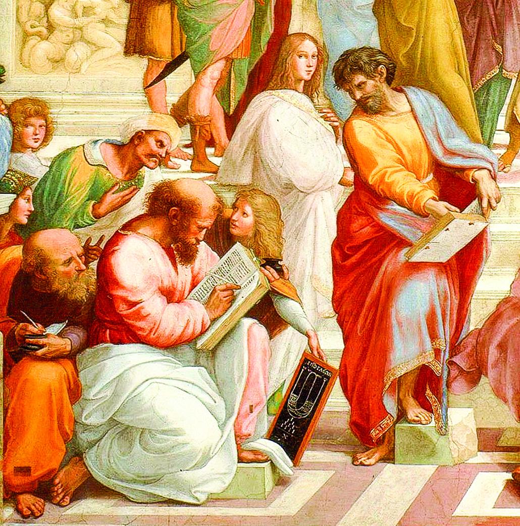 《雅典學院》局部,蘇格拉底之前的哲學家們。畢達哥拉斯正在振筆疾書。(公有領域)