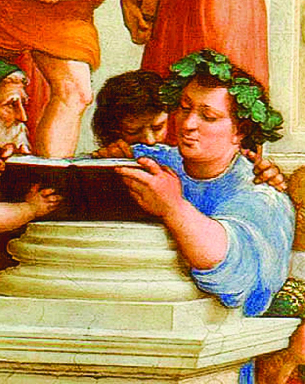 《雅典學院》局部,頭戴葉冠的學者的身份可能是奧菲斯(Orpheus)、德謨克里特(Democritus)或伊比鳩魯(Epicurus)。(公有領域)