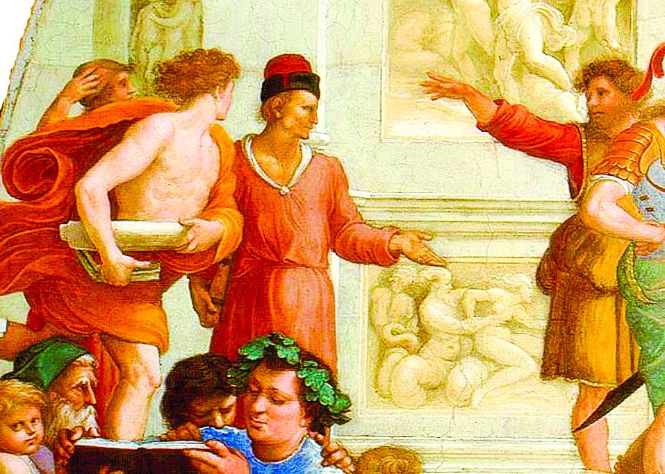 《雅典學院》局部,詭辯學者與蘇格拉底群組之間以距離區隔,又以肢體手勢相連。(公有領域)